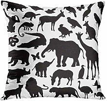 Y·JIANG Animal Throw Pillow Cushion Cover, Zoo
