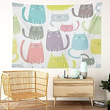Y·JIANG Colorful Tapestry, Cute Cat Fun Abstract