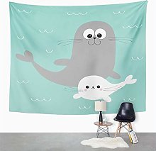 Y·JIANG Cute Cartoon Tapestry, Sea Lion Harp Seal