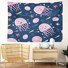 Y·JIANG Cute Jellyfish Tapestry, Adorable Little
