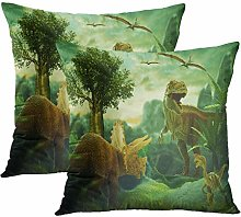 Y·JIANG Fantasy Landscape Cushion Cover, Dinosaur