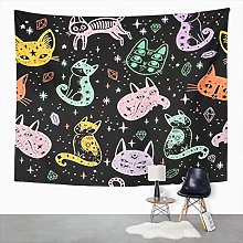 Y·JIANG Halloween Witch Tapestry, Witch's Cat
