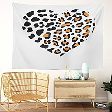 Y·JIANG Heart Shape Tapestry, Heart with Leopard
