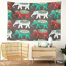 Y·JIANG Indian Tapestry, Elephants Abstract