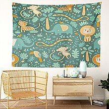 Y·JIANG Jungle Animals Tapestry, Lion Cute Zoo