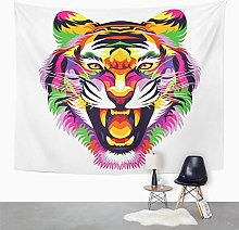 Y·JIANG Pop Art Tapestry, Colorful Tiger Head