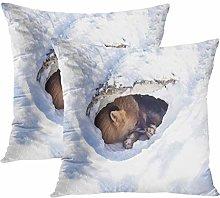 Y·JIANG Winter Animal Cushion Cover, Fox Sleeping