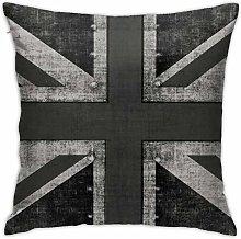 Yaateeh Grunge Black White UK Flag Throw Pillow