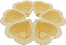YAeele Baking Cup Mould 3pcs 6-Cavity Heart Shape