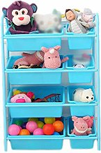YAeele Blue Toy Storage Organiser Cart With Wheels