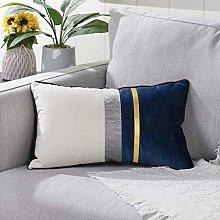 YAERTUN Patchwork Velvet Lumbar Decorative Cushion