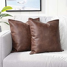 YAERTUN Set of 2 Faux Leather Decorative Throw