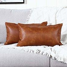 YAERTUN Set of 2 Lumbar Faux Leather Decorative