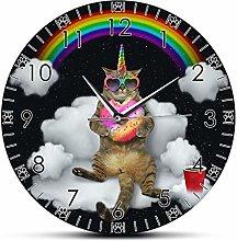 yage Wall Clock 3D Funny Meowgical Unicorn Cat