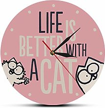 yage Wall Clock 3D Life Is Better With A Cat