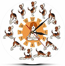 yage Wall Clock Design Funny Dog Doing Yoga Style
