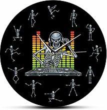 yage Wall Clock For Living Room Dj Skull Skeleton