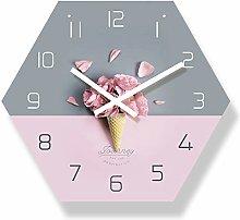 yage Wall Clock Living Room Pink Flower Design