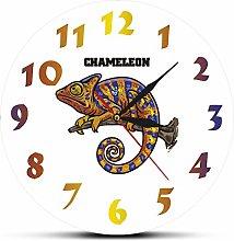 yage Wall Clock Modern Chameleon Print Wall Art