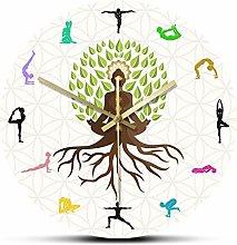 yage Wall Clock Modern Lotus Pose Tree Decorative