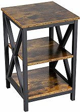 Yaheetech 3-Tiers Industrial Bedside Table X-Frame