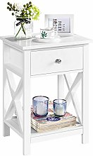 Yaheetech Beside Table with 1 Drawer X Design