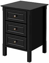 Yaheetech Black Bedside Drawer, Bedside Cabinet 3