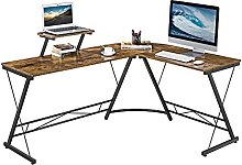 Yaheetech L-Shaped Desk with Monitor Stand