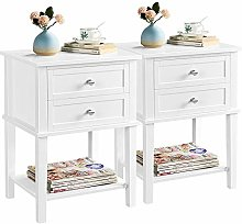 Yaheetech Set of 2 Bedside Table 2 Drawers