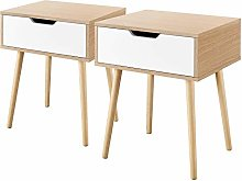 Yaheetech Set of 2 Bedside Tables, Nightstand