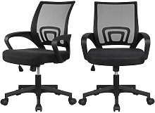 Yaheetech - Set of 2 Fabric Mesh Chairs Desk Chair