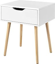 Yaheetech White Bedside Table, Wood Nightstand