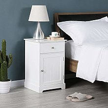 Yaheetech White Bedside Table Wooden Chest of