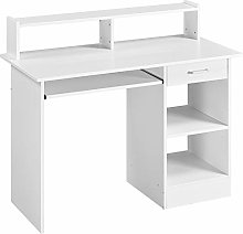 Yaheetech White Computer Desk with Drawers Storage
