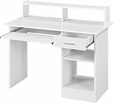 Yaheetech White Movable Computer Office Desk,