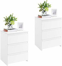 Yaheetech Wooden Nightstand, White Bedside Table