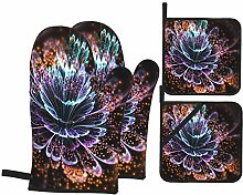 YANAIX Oven Mitts and Pot Holders 4pcs Set,Blue