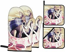 YANAIX Oven Mitts and Pot Holders 4pcs Set,Funny