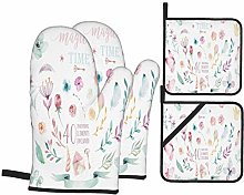 YANAIX Oven Mitts and Pot Holders 4pcs Set,Hand