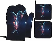 YANAIX Oven Mitts and Pot Holders 4pcs Set,Planet