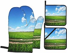 YANAIX Oven Mitts and Pot Holders 4pcs Set,Rural