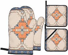 YANAIX Oven Mitts and Pot Holders 4pcs Set,Scarf
