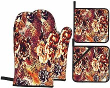 YANAIX Oven Mitts and Pot Holders 4pcs Set,The