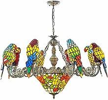 Yangmanini 8 Parrots Tiffany Style Pendant Lamp