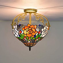 YANGQING Light Lamp 12 Inch Stained Glass Pendant