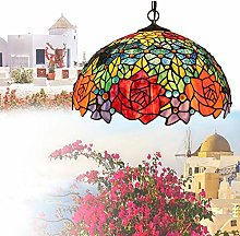 YANGQING Light Lamp 16-Inch Stained Glass Shade
