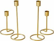 Yanhonin 4 Pcs Gold Brass Candlestick, Metal