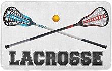 Yaoni Bath Mat Badge The Word Lacrosse Crossed