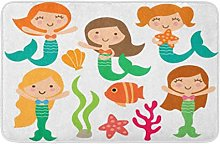 Yaoni Bath Mat Kawaii Cute Girl Mermaids Under The