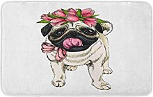 Yaoni Bath Mat Portrait of Pug Dog Wearing Tulip